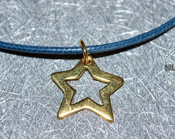 Star Necklace Sterling Silver Gold plated Handmade Jewelry Gifts for her Woman Girl Birthday Girlfriend Anniversary Greek Art Blue Sky Dream