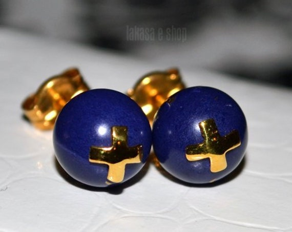 Lapis Lazuli Cross Studs Earrings Silver 925 Gold-plated Handmade Jewelry Natural Gemstone Best Ideas Gifts Mother's Day Love