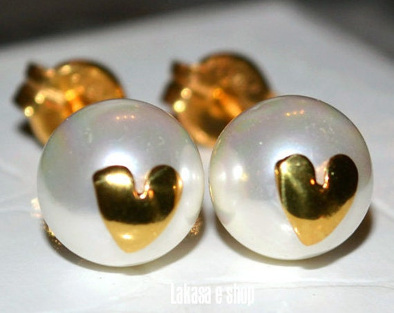 Heart Pearls Stud Earrings Silver 925 Gold plated Jewelry Valentine Woman Moda Spring Summer Collection Birthday Mother Day Mommy Girlfriend