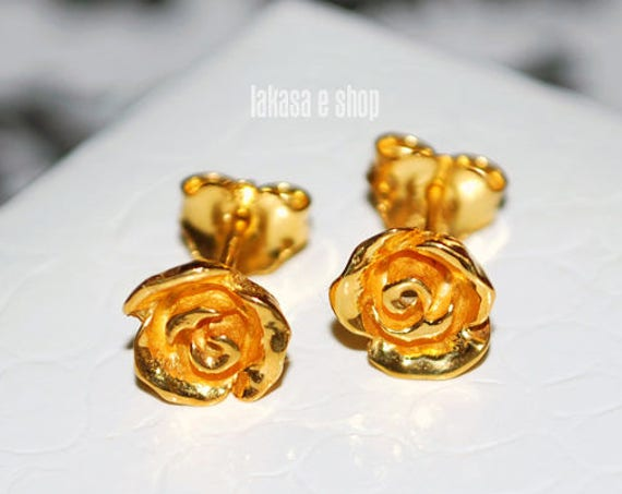 Roses for her Studs Earrings Sterling Silver Gold plated Handmade Jewelry Valentine Day Birthday Anniversary Woman Girlfriend Best Gift Love