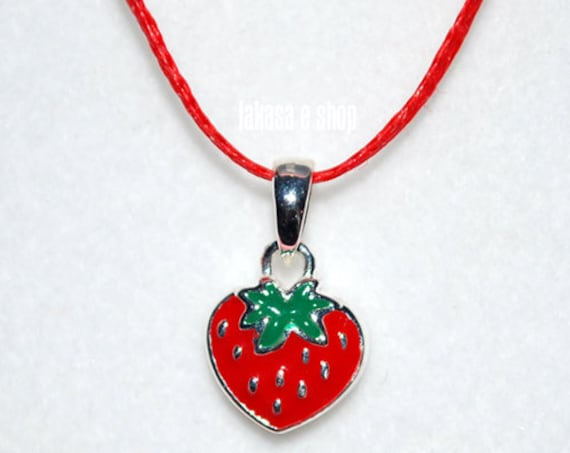 Juicy Strawberry Red Enamel Jewelry Necklace Sterling Silver Girl School Kids Collection Moda Summer Spring Fun Color Fruit Cool Gift idea