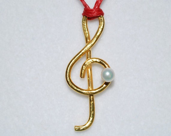 Necklace Music Clef Symbol Sterling Silver Gold plated Jewelry Best Gifts Ideas Rock you Birthday Love Violin Piano Musician Fine Greek Art