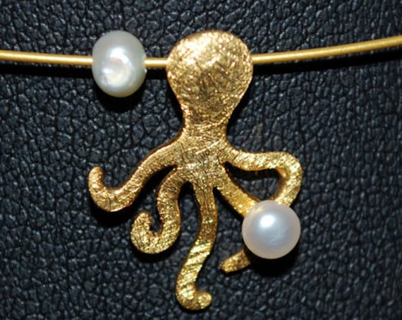 Octopus Necklace Sterling Silver 925 Gold-plated with Freshwater Pearls Handmade Jewelry Summer Collection Greek Art Best Ideas Woman Gift