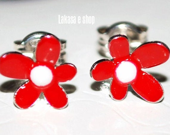 Flowers Red Enamel Studs Earrings Silver 925 white Gold-plated Handmade Jewelry Floral Design Best Ideas Gifts For Her Birthday Anniversary
