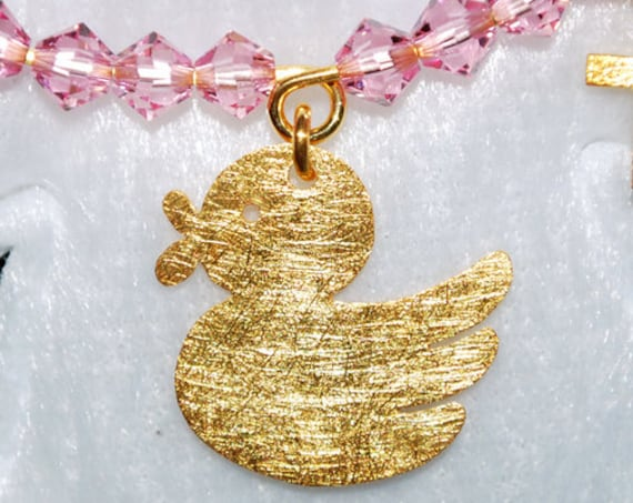 Happy Duck Baby Brooch Silver 925 Gold-plated Cross Swarovski Crystals Jewelry Best ideas Gift Baptism Birthday Mother Newborn Girl