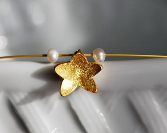 Star Necklace Sterling Silver Gold plated Freshwater Pearls Handmade Jewelry Gifts for her Birthday girlfriend Anniversary Christmas Greece