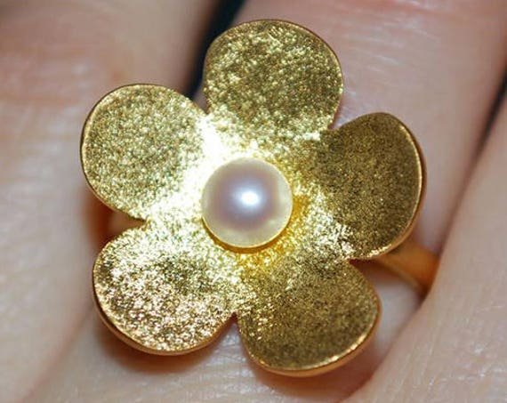 Flower Freshwater Pearl Ring Silver 925 Gold-plated Handmade Jewelry Woman Moda Anniversary Best Ideas Gifts Mother Mommy Girlfriend Love
