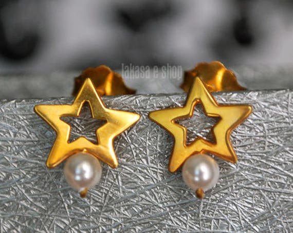 Freshwater Pearl Star Stud Earrings Sterling Silver Goldplated Greek Handmade Jewelry Birthday Gift Mother Girl Elegant Style Woman Blue Sky