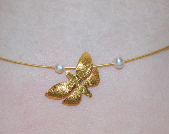 Butterfly Necklace Silver 925 Gold Plated Jewelry with Pearls Lakasa e-shop
