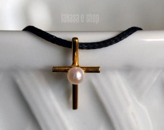 Cross Necklace Silver 925 Gold-plated Handmade Jewelry with Freshwater Pearl Best Ideas Gifts Birthday Mother's Day Mommy Religious Love