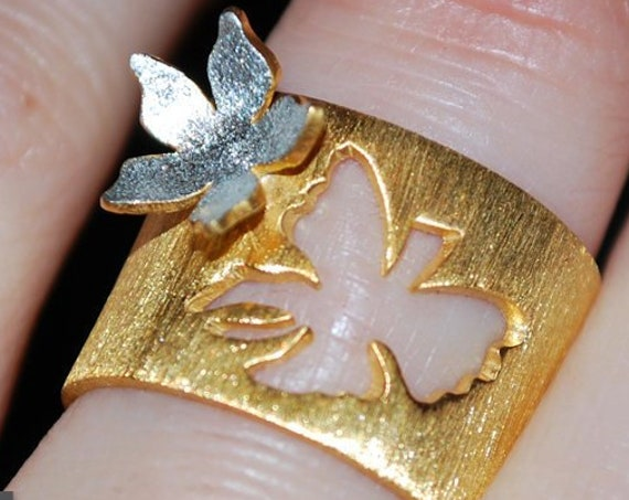 Ring Silver 925 Gold-plated Handmade Jewelry Butterfly Flower Floral Design Anniversary Best Ideas Gifts For Her Woman Mother's Day Love