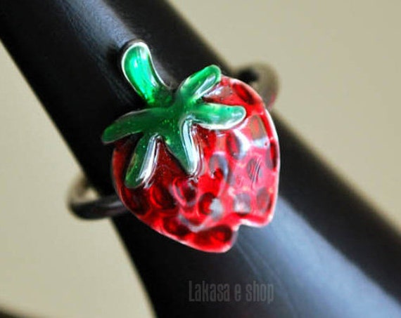 Strawberry Enamel Ring Silver 925 White Gold-plated Handmade Jewelry Lakasa Eshop Best Gifts Ideas Girl Birthday Kids Collection Fruits Cool