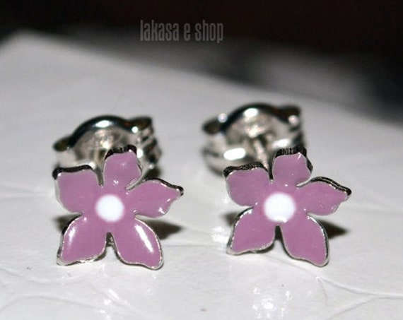 Purple Enamel Flowers Studs Earrings Silver 925 white Gold-plated Handmade Jewelry Baby Girl Moda Best Gifts Kids Collection Floral Design
