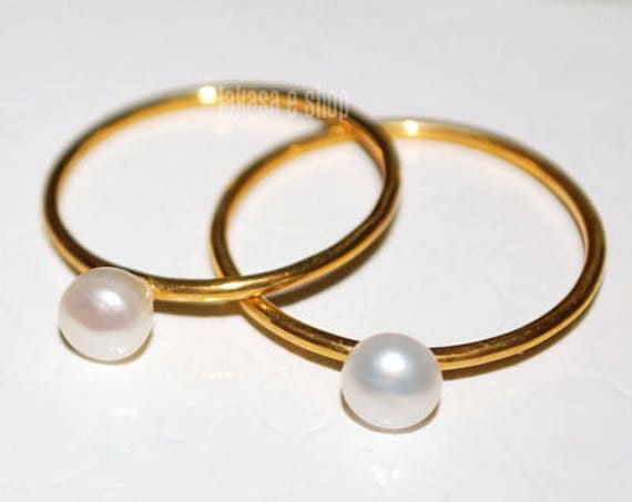 OFFER Set 2 Rings Freshwater Pearls Silver 925 Gold-plated Handmade Jewelry Friendship Gift Mother & Daughter Bridal Greek Minimalist Style