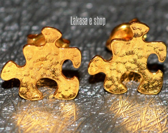 Puzzle Studs Earrings Silver 925 Gold-plated Lakasa Eshop Handmade Jewelry Love Girlfriend Best Gift Idea Anniversary Birthday Valentine Day