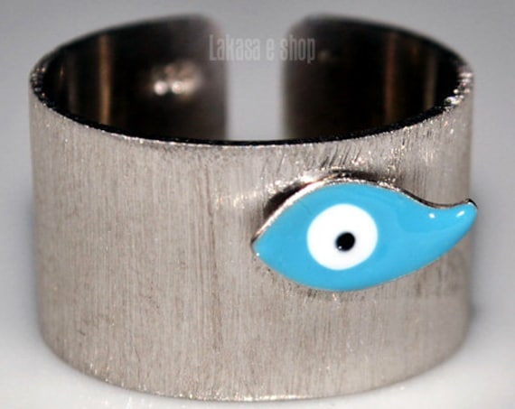 Enamel Blue Eye Chevalier Ring Silver 925 white Gold plated Handmade Jewelry Birthday Best ideas Gifts For Her Summer Time Colourful Designs