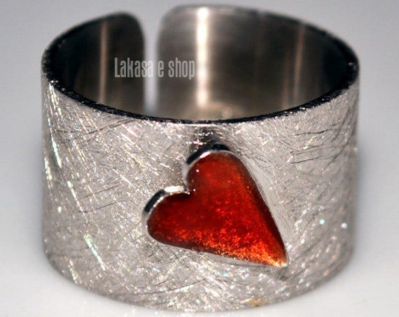 Enamel Heart Chevalier Ring Silver 925 white Gold-plated Handmade Jewelry Love Valentine Best Gifts For Her Summer Time Colourful Designs