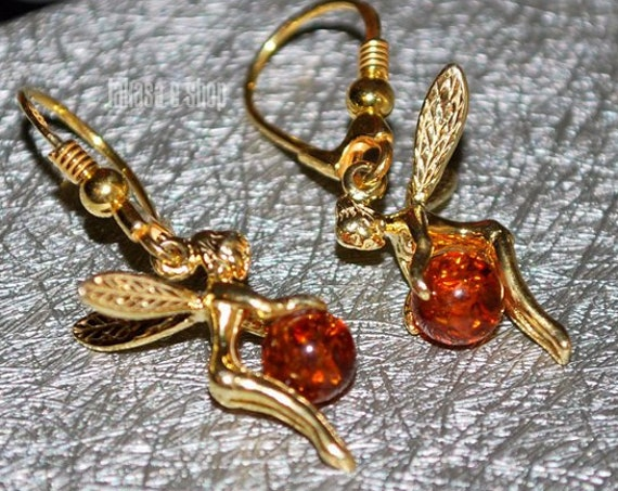 Baltic Amber Fairy Earrings Silver 925 Gold-plated Jewelry lakasaeshop Dream Fantasy Best Gifts Ideas for her Birthday Valentine Day Woman