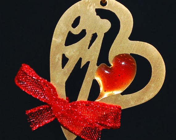 Heart Necklace Red Enamel Sterling Silver 925 Gold plated Handmade Jewelry Best Gift Idea Valentine Day Anniversary Woman Love Girlfriend