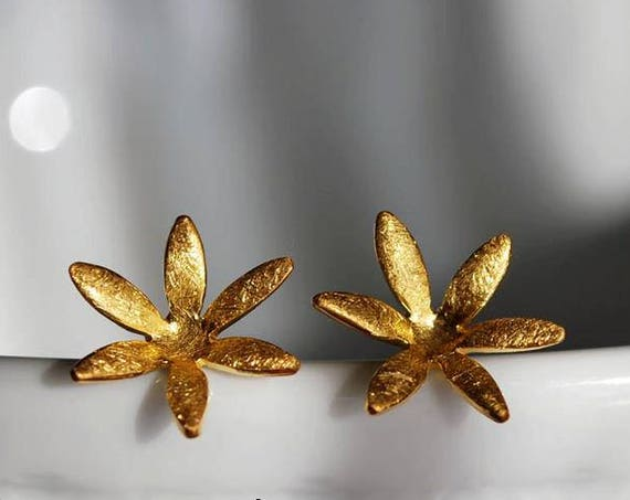 Flowers studs Earrings Sterling Silver 925 Gold-plated Handmade Jewelry Woman Mother Best Idea Gift for her Floral Moda Birthday Anniversary