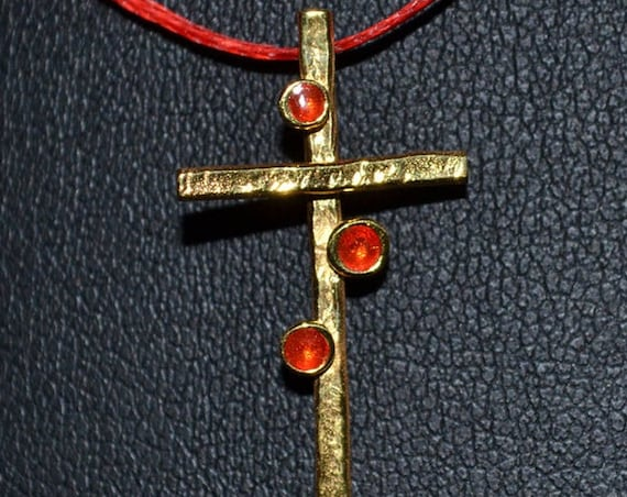 Necklace Cross Red Enamel Silver 925 Gold-plated Handmade Religious Jewelry Best Ideas Gifts Woman Moda Anniversary Birthday Lakasa Eshop