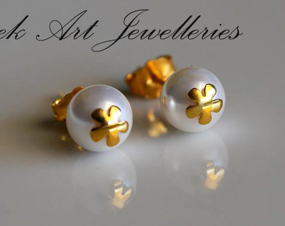 Flower Pearls Stud Earrings Sterling Silver Gold plated Jewelry Lakasa eShop Floral design moda woman girl gifts girlfriend greek style art