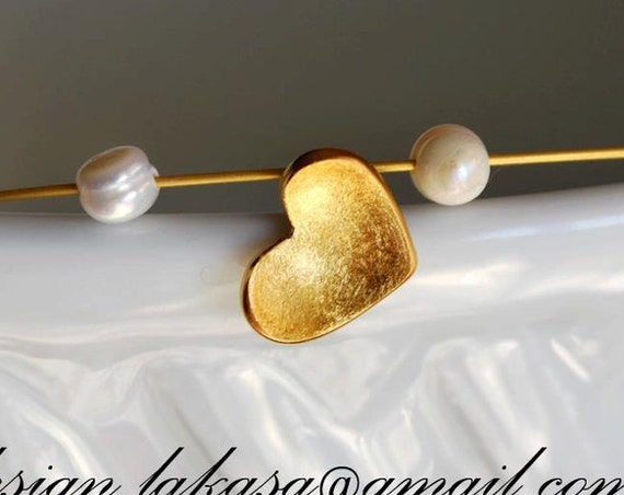 Handmade Heart Necklace Sterling Silver Gold plated Jewelry Freshwater Pearls gift for her Woman girlfriend Valentine day Mother best friend