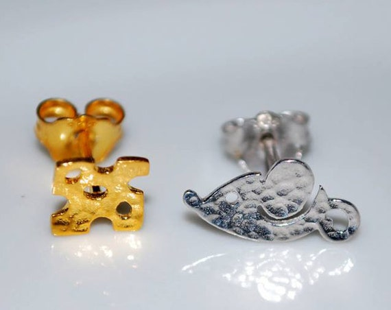 Mouse Chesse Studs Earrings Sterling Silver 925 Gold-plated Handmade Jewelry Cute Girl Best Ideas Gifts for her Girlfriend Woman Moda Funny