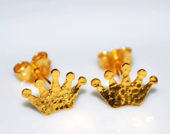 Crown Stud Earrings Sterling Silver Gold plated Jewelry Lakasa eShop best gifts ideas Princess woman girl princesa fairy tale prince castle