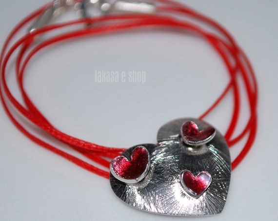 Necklace Red Enamel Hearts Silver 925 white Gold-plated Handmade Jewelry Best Gift Ideas for her Valentine Anniversary Woman Mother Day Love