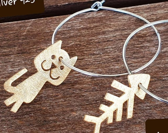 Fish & Cat hoop Earrings Silver 925 Gold-plated Handmade Jewelry Best Gift Ideas For Her Summer Look Marine Collection Funny Girl Birthday