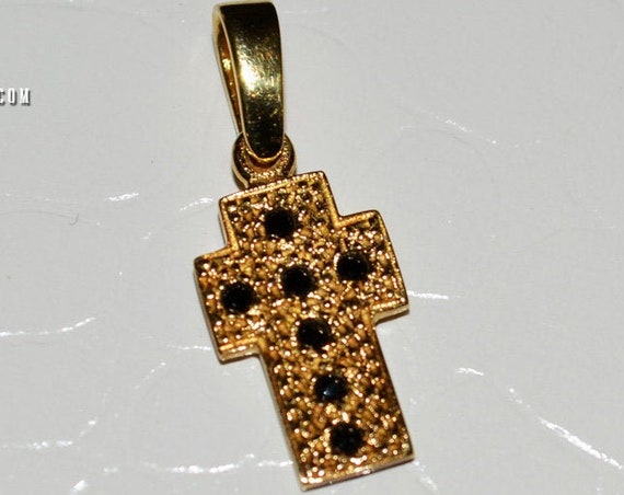 Religious Jewelry Cross Pendant Silver 925 Gold-plated with Black Zircons Stones Love Mother Shower Day Baptism Girl Boy Women Men Unisex