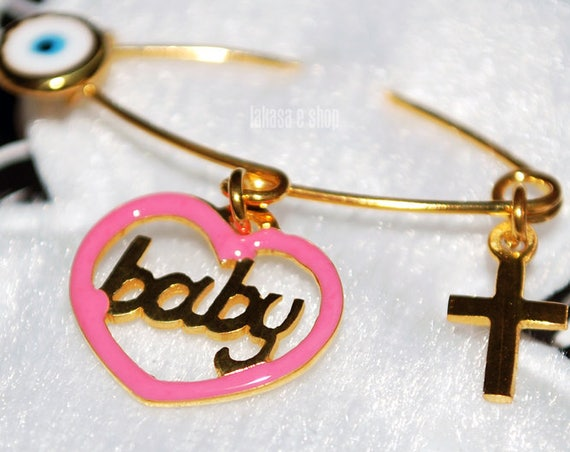 Pink Enamel Heart Baby Girl Brooch Silver 925 Gold-plated Handmade Jewelry Cross Eye Mama HappyShowerDay Religious Baptism Newborn