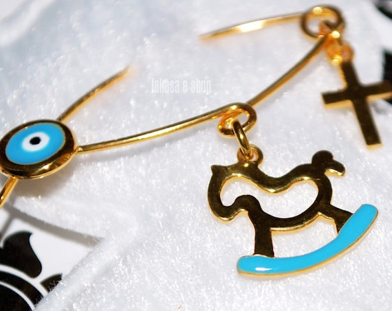 Blue Enamel Baby Brooch Pony Carousel Sterling Silver Gold plated Handmade Jewelry Cross Eye Happy Shower Day Religious Baptism Newborn Boy