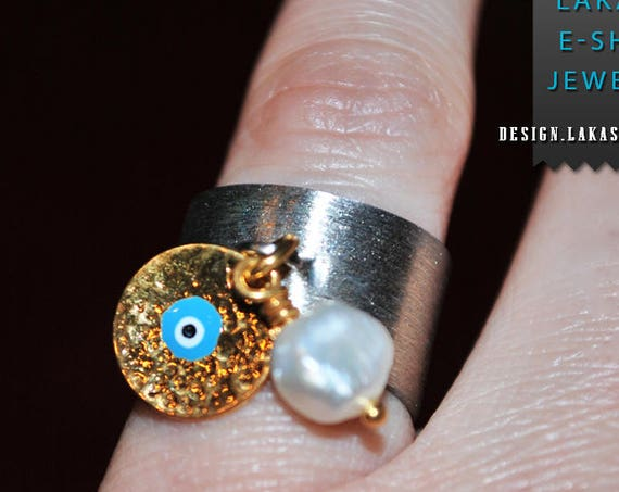 Chevalier Ring Enamel Blue Eye Freshwater Pearl Silver 925 Handmade Jewelry Midi Rings Anniversary Birthday Best Ideas Gifts Mother Woman