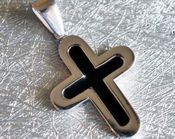 Pendant Black Enamel Cross Sterling Silver white Gold plated Jewelry Greek Art Gift Christian Religious Baptism Collection Men Unisex Moda