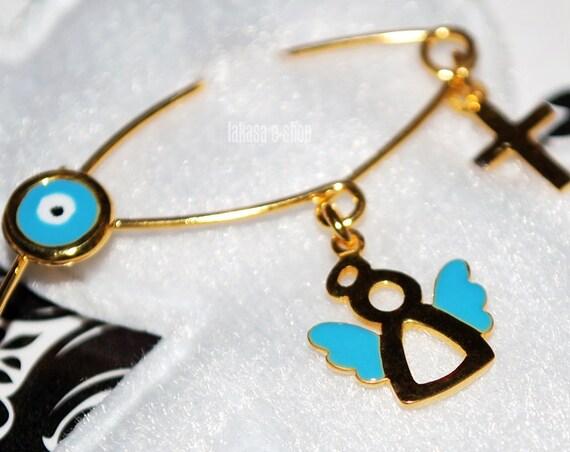 Blue Enamel Angel BabyBoy Brooch Sterling Silver Gold plated Handmade Jewelry Cross Eye HappyShowerDay Christening Religious Baptism Newborn