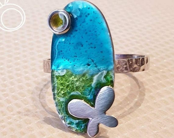 Butterfly Enamel Ring Silver 925 white Gold-plated Handmade Jewelry Best Ideas Gifts for her Birthday Anniversary Mother's Day Easter Spring