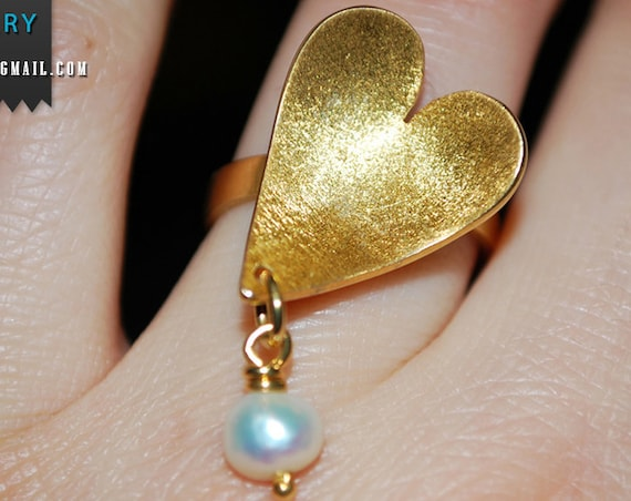 Heart Ring Freshwater Pearl Silver 925 Gold-plated Handmade Jewelry Valentine Love Mommy Anniversary Mother's Day Romantic Style Best Gifts