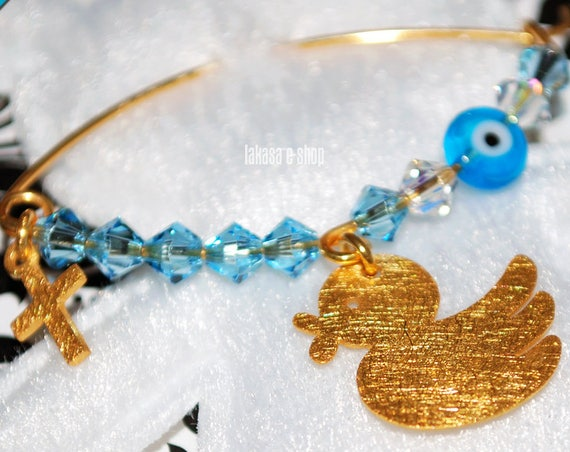 Happy Duck Baby Boy Brooch Silver 925 Gold-plated Cross Swarovski Crystals Jewelry Best idea Gift Baptism Christening Birthday Mother