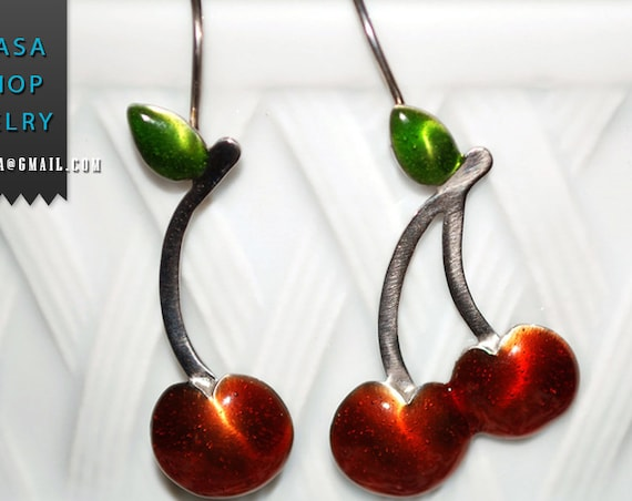Enamel Cherry Earrings Silver 925 white Gold-plated Handmade Jewelry Spring Summer Best Ideas Greek Art Gifts Woman Girl Lakasa Eshop