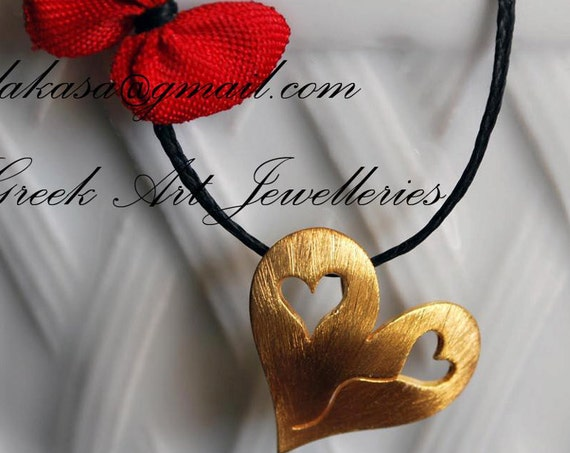 Heart Necklace Sterling Silver 925 Gold plated Handmade Jewelry Best Gift Ideas for her Girlfriend Mother Anniversary Valentine Day Woman