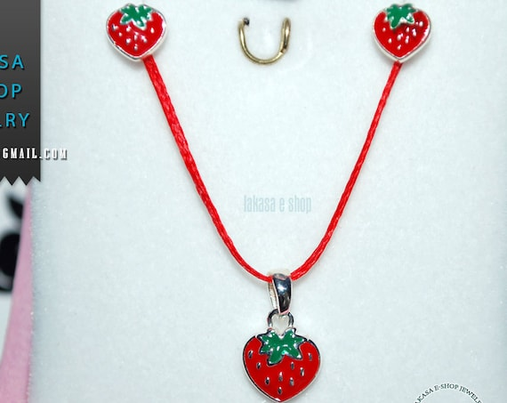 Best Price Juicy Strawberry Red Enamel Set Jewelry Necklace Earrings Silver 925 White Goldplated Girl School Moda Kids Collection OFFER