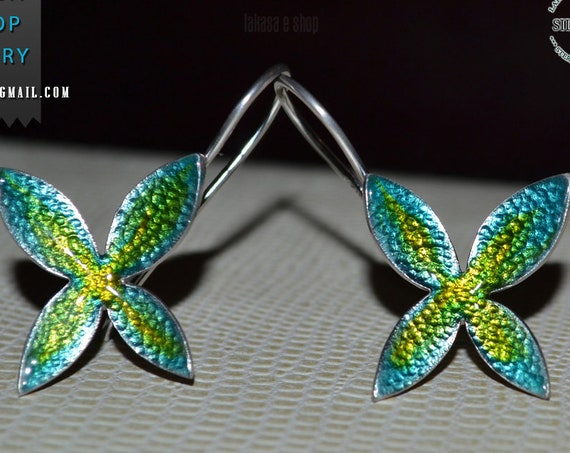 Butterfly Enamel Earrings Silver 925 white Gold-plated Handmade Jewelry Best Ideas Gifts Anniversary Birthday Mother's Day Springtime Summer