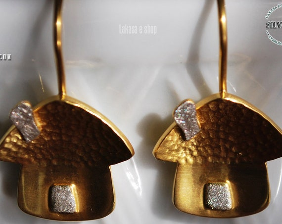 Sweet Home Earrings Silver 925 Gold-plated Handmade Jewelry Lakasa eshop Gifts for her Birthday Best Ideas Mother's Day Anniversary Love