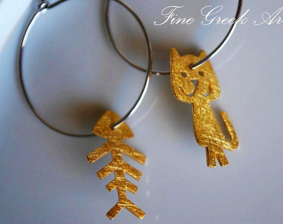 Fish Cat hoop Earrings Sterling Silver gold plated Jewelry Best idea gift forher girlfriend cute girl lovely funny passion moda woman