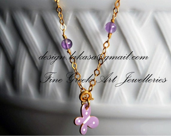 Purple Enamel Butterfly Bracelet Sterling Silver Gold plated Jewelry Amethyst beads Chain Fine Greek Art Best Gift Ideas for friendship Hope