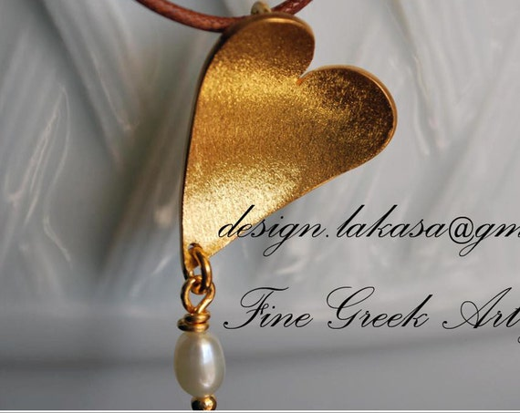Heart Necklace Sterling Silver 925 Gold-plated Freshwater Pearl Lakasa e-shop Jewelry Valentine Day Woman Best Gift Love Romantic Style
