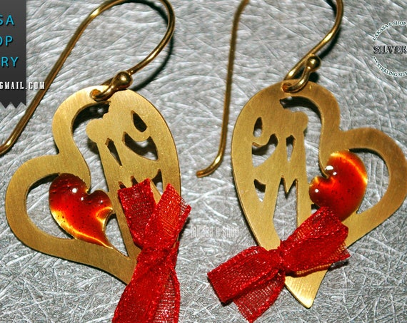 Heart Earrings Red Enamel Sterling Silver 925 Handmade Jewelry Best Gift Ideas for her Valentine Day Anniversary Woman Love Girlgriend Wife
