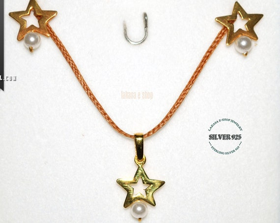 BEST PRICE SET Stars & Pearls Jewelry Earrings Necklace Sterling Silver 925 Gold plated Best Ideas Gifts For Her Mother Anniversary Birthday